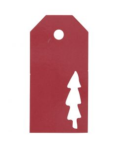 Étiquettes cadeau, Sapin de Noël, dim. 5x10 cm, 300 gr, rouge, 15 pièce/ 1 Pq.