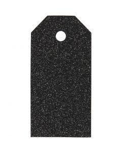 Étiquettes cadeaux, dim. 5x10 cm, paillettes, 300 gr, noir, 15 pièce/ 1 Pq.