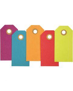 Etiquettes cadeaux, dim. 4x8 cm, 250 gr, couleurs assorties, 20 pièce/ 1 Pq.