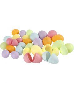 Oeuf, H: 4,5+6 cm, d: 3+4  cm, couleurs pastel, 180 pièce/ 1 Pq.