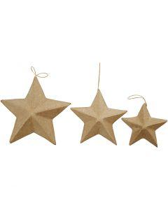 Étoiles, d: 7,5+10+12,5 cm, 6 pièce/ 1 Pq.