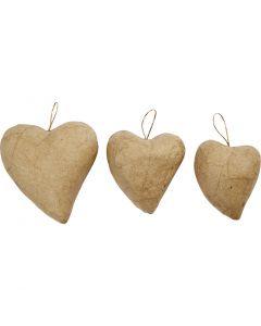 Coeurs, H: 6+8+10 cm, 6 pièce/ 1 Pq.
