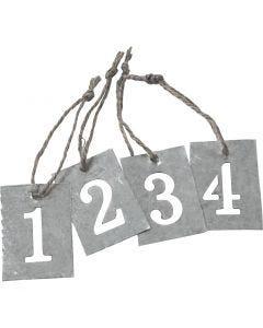 Etiquettes en zinc, 4 pièce/ 1 set