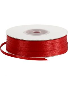 Ruban de satin, L: 3 mm, rouge, 100 m/ 1 rouleau