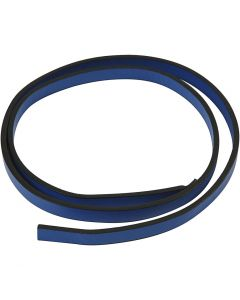 Ceinture type cuir, L: 10 mm, ép. 3 mm, bleu, 1 m/ 1 Pq.