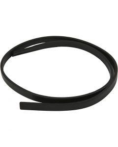 Ceinture type cuir, L: 10 mm, ép. 3 mm, noir, 1 m/ 1 Pq.