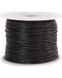 Corde de cuir, ép. 1 mm, noir, 50 m/ 1 rouleau