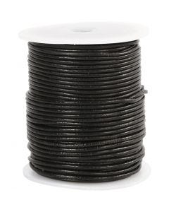 Corde de cuir, ép. 2 mm, noir, 50 m/ 1 rouleau