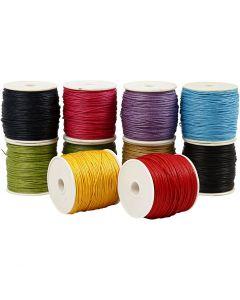 Ficelle coton, ép. 1 mm, couleurs franches, 10x50 m/ 1 Pq.