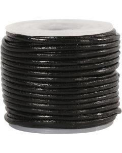 Corde de cuir, ép. 1 mm, noir, 10 m/ 1 rouleau