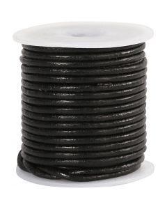 Corde de cuir, ép. 2 mm, noir, 10 m/ 1 rouleau
