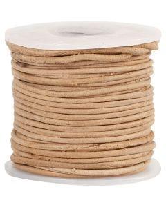 Corde de cuir, ép. 1 mm, naturel, 10 m/ 1 rouleau