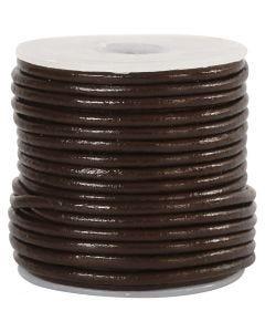 Cordon de cuir, ép. 2 mm, brun, 10 m/ 1 rouleau