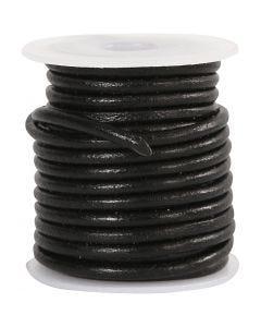 Corde de cuir, ép. 3 mm, noir, 5 m/ 1 rouleau