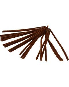 Fil chenille, L: 30 cm, ép. 9 mm, brun, 25 pièce/ 1 Pq.