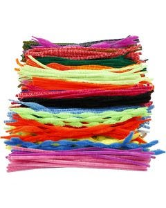 Fil chenille, L: 30 cm, ép. 5-12 mm, couleurs assorties, 500 ass./ 1 Pq.