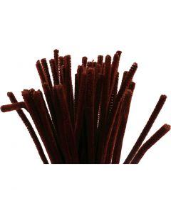 Fil chenille, L: 30 cm, ép. 6 mm, rouge antique, 50 pièce/ 1 Pq.