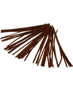 Fil chenille, L: 30 cm, ép. 6 mm, brun, 50 pièce/ 1 Pq.