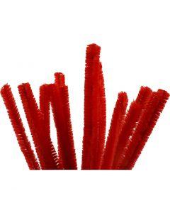 Fil chenille, L: 30 cm, ép. 15 mm, rouge, 15 pièce/ 1 Pq.