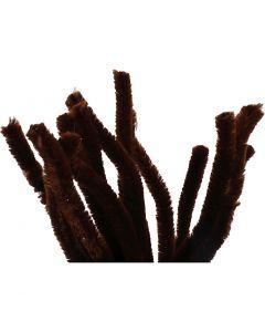 Fil chenille, L: 30 cm, ép. 15 mm, brun, 15 pièce/ 1 Pq.