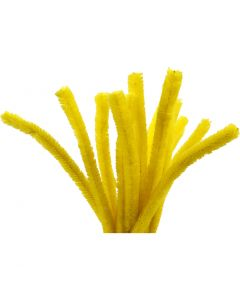 Fil chenille, L: 30 cm, ép. 15 mm, jaune, 15 pièce/ 1 Pq.