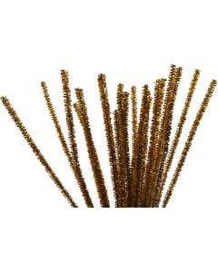 Fil chenille, L: 30 cm, ép. 6 mm, paillettes, or, 24 pièce/ 1 Pq.