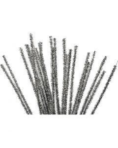 Fil chenille, L: 30 cm, ép. 6 mm, paillettes, argent, 24 pièce/ 1 Pq.