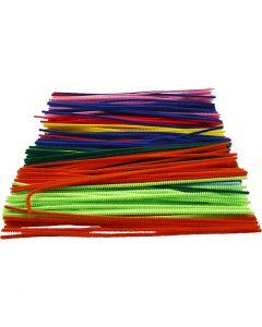 Fil chenille, L: 30 cm, ép. 4 mm, couleurs assorties, 300 ass./ 1 Pq.