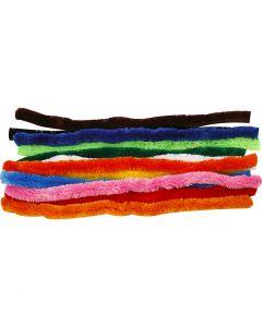 Fil chenille, L: 45 cm, ép. 25 mm, couleurs assorties, 60 ass./ 1 Pq.