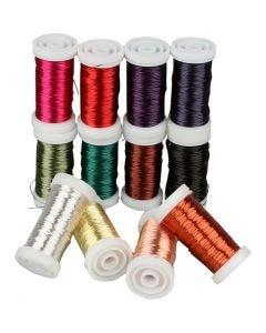 Fil bijouterie - Assortiment, ép. 0,5 mm, couleurs assorties, 12x50 m/ 1 Pq.