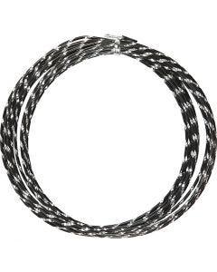 Fil d'aluminium, diamond-cut, ép. 2 mm, noir, 7 m/ 1 rouleau