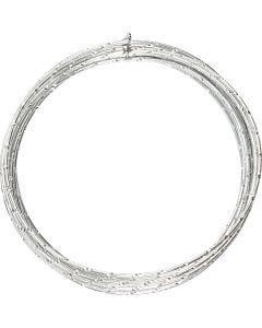 Fil d'aluminium, diamond-cut, ép. 2 mm, argent, 7 m/ 1 rouleau