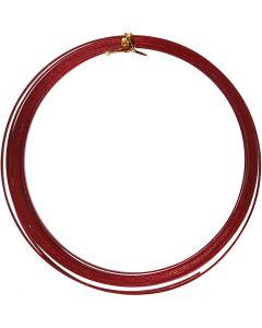 Fil d'aluminium, plat, L: 3,5 mm, ép. 0,5 mm, rouge, 4,5 m/ 1 rouleau