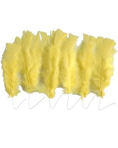 Plumes, L: 11-17 cm, jaune, 18 boule/ 1 Pq.