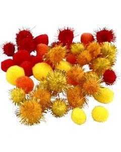 Pompons, d: 15+20 mm, orange, rouge, jaune, 48 ass./ 1 Pq.