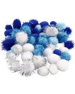 Pompons, d: 15+20 mm, bleu clair, bleu foncé, blanc, 48 ass./ 1 Pq.