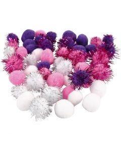 Pompons, d: 15+20 mm, violet, rouge clair, blanc, 48 ass./ 1 Pq.