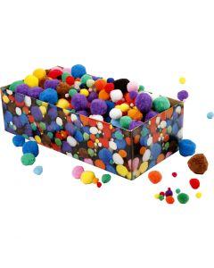 Pompons, d: 5-40 mm, couleurs assorties, 220 gr/ 1 Pq.