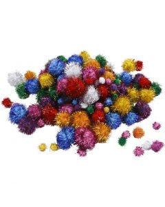 Pompons scintillants, d: 15-40 mm, paillettes, couleurs franches, 62 gr/ 1 Pq.