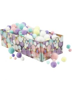 Pompons, d: 15-40 mm, paillettes, couleurs pastel, 400 gr/ 1 Pq.
