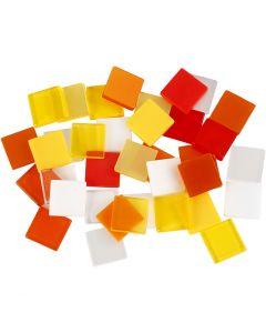 Mini-mosaïques, dim. 10x10 mm, harmonie rouge/orange, 25 gr/ 1 Pq.