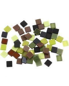 Mini-mosaïques, dim. 5x5 mm, glitter vert, 25 gr/ 1 Pq.
