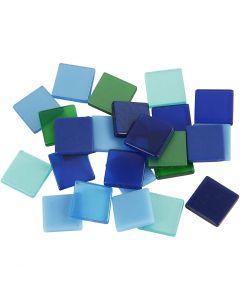 Mini-mosaïques, dim. 10x10 mm, harmonie bleu/vert, 25 gr/ 1 Pq.