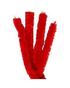 Fil chenille, L: 40 cm, ép. 30 mm, rouge, 4 pièce/ 1 Pq.