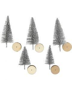 Sapins de Noël, H: 40+60 mm, argent, 5 pièce/ 1 Pq.