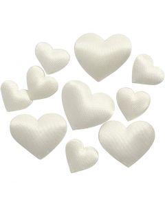 Coeurs en satin, dim. 10+20 mm, blanc cassé, 70 pièce/ 1 Pq.