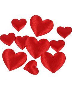 Coeurs en satin, dim. 10+20 mm, rouge, 70 pièce/ 1 Pq.