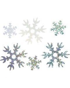 Paillettes, d: 25+45 mm, bleu clair, argent, blanc, 250 gr/ 1 Pq.