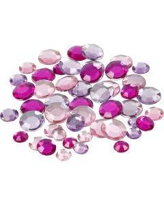 Pierre de strass, Rond, dim. 6+9+12 mm, violet, 360 pièce/ 1 Pq.