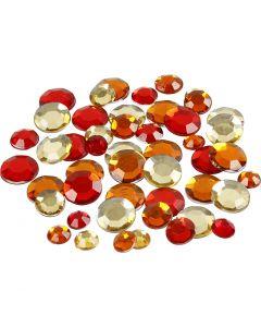 Pierre de strass, rond, dim. 6+9+12 mm, harmonie de rouges, 360 pièce/ 1 Pq.